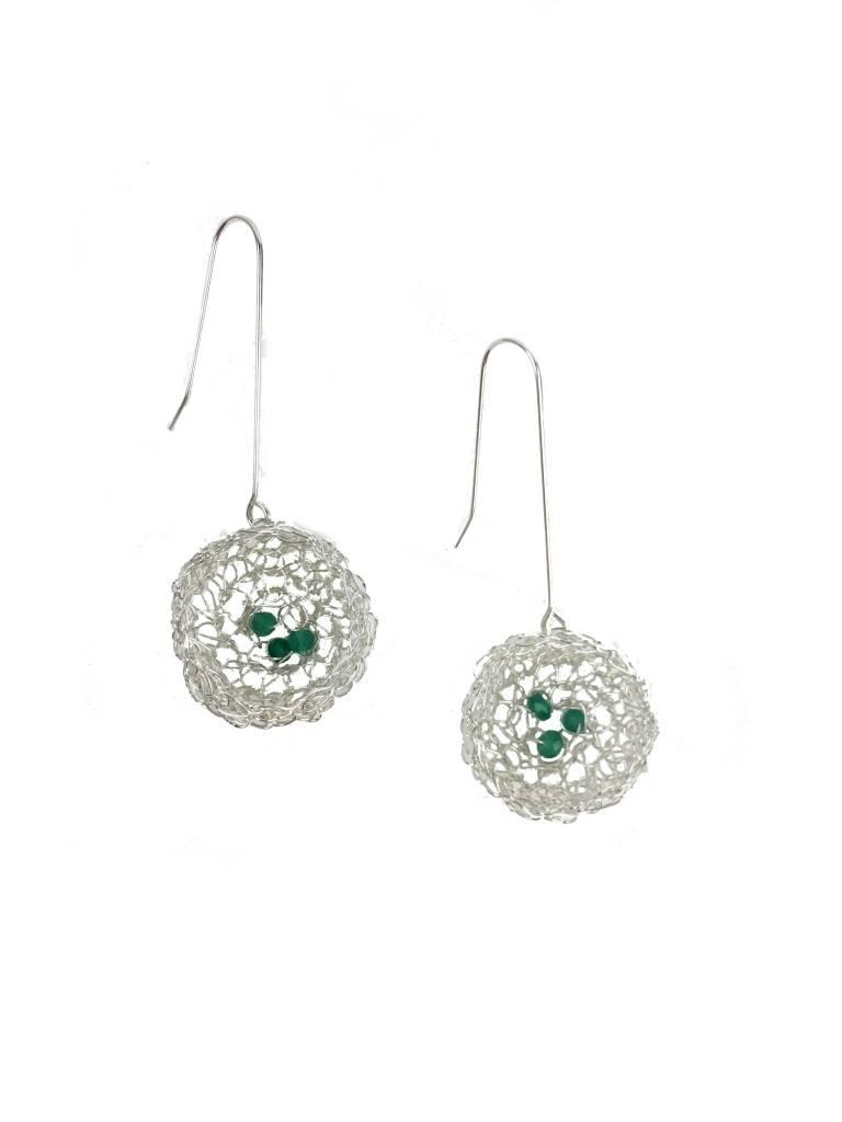 Cottler Fox Cottler Fox Large Basket Earrings: Silver & Emerald