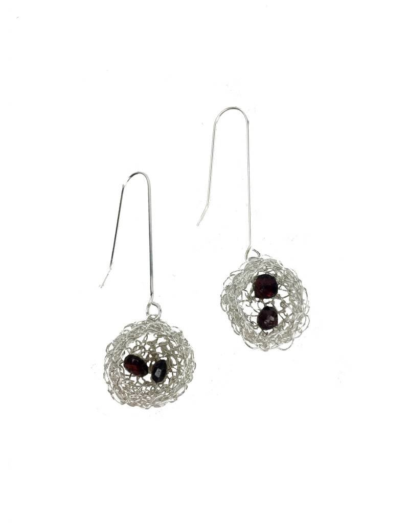 Cottler Fox Cottler Fox Silver & Garnet Basket Earrings