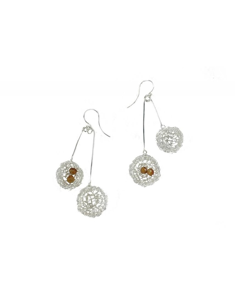 Cottler Fox Cottler Fox Long Double Silver & Citrine Basket Earrings
