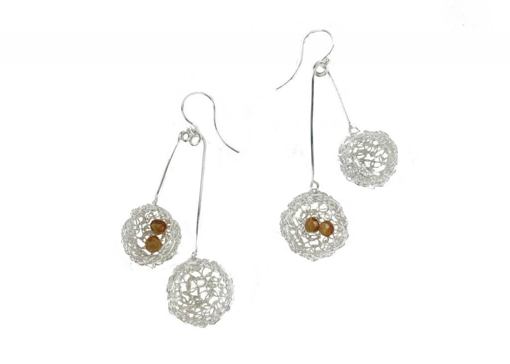 Cottler Fox Cottler Fox Double Basket Earrings: Silver & Citrine