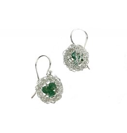 Cottler Fox Small Silver & Aventurine Basket Earrings