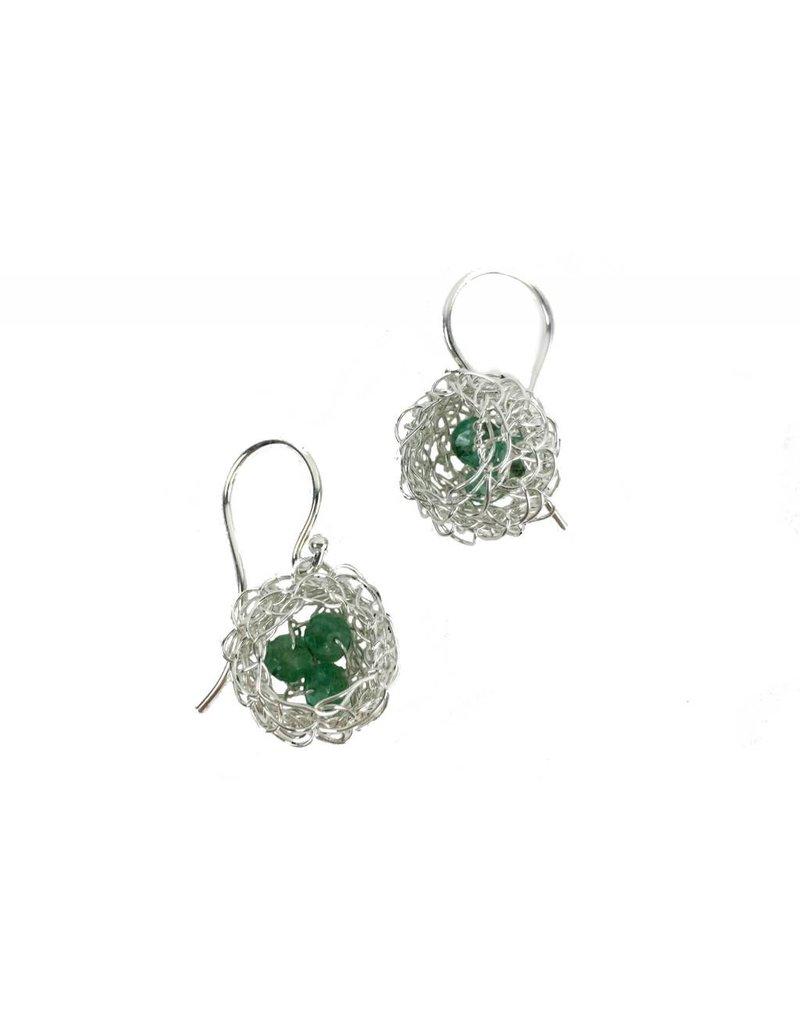 Cottler Fox Cottler Fox Small Silver & Aventurine Basket Earrings