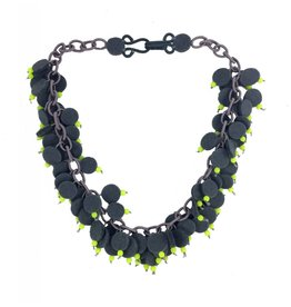 Lynsey Walters Lynsey Walters Dainty Bead Necklace: Gray & Lime