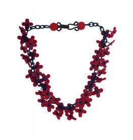 Lynsey Walters Flower Confetti Necklace: Red & Navy