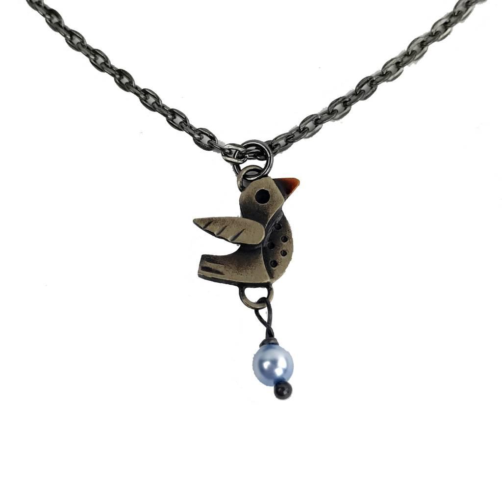Chickenscratch Lil' Scratch Lovebirds Pendant: Bronze