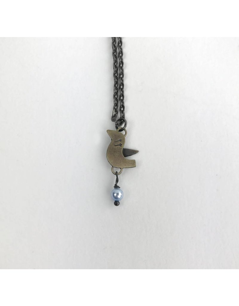 Chickenscratch Lil' Scratch Lovebirds Pendant: Bronze
