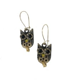 Chickenscratch Owl Earrings: Bronze
