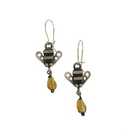Chickenscratch Honey Bee Earrings: Bronze