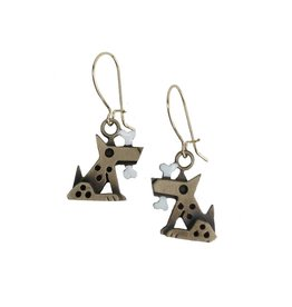 Chickenscratch Fido Earrings: Bronze