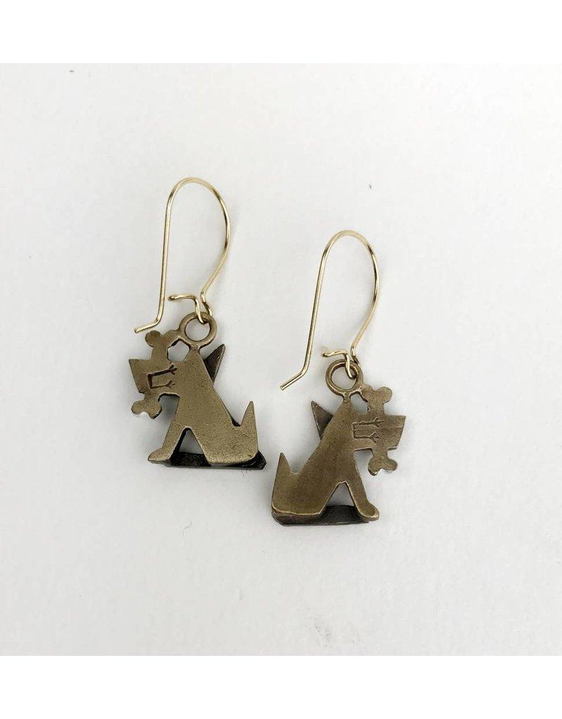Chickenscratch Lil' Scratch Fido Earrings: Bronze