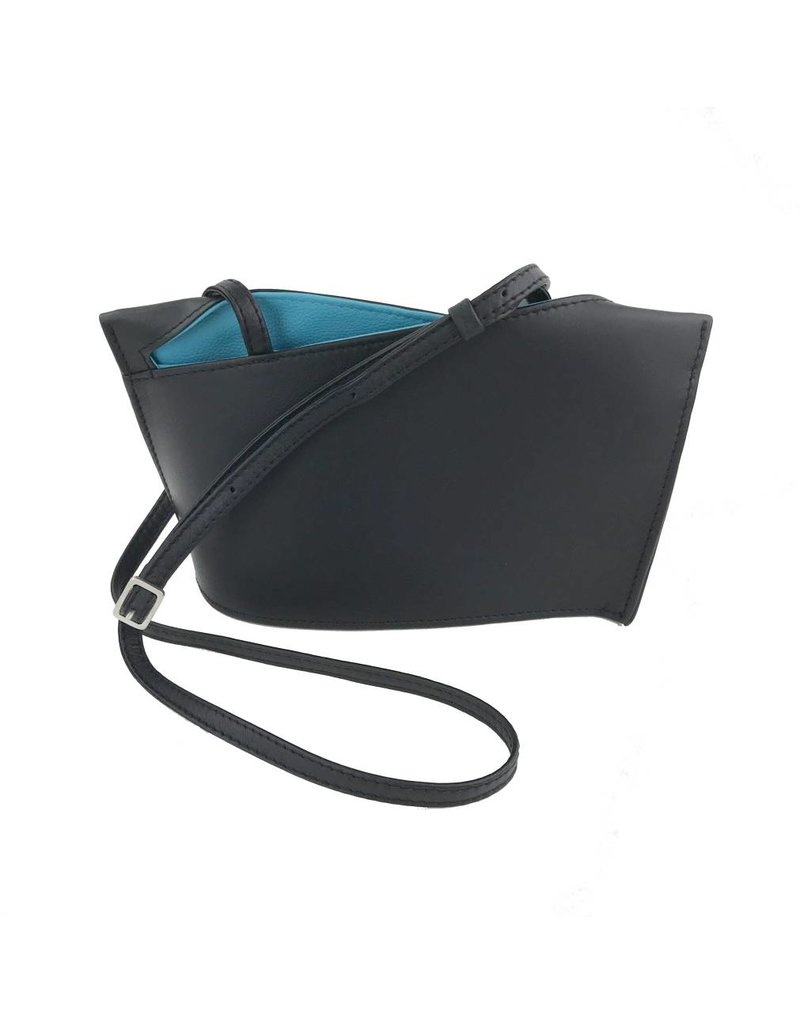 Olbrish Olbrish Wave Shoulder Bag: Black with Aqua