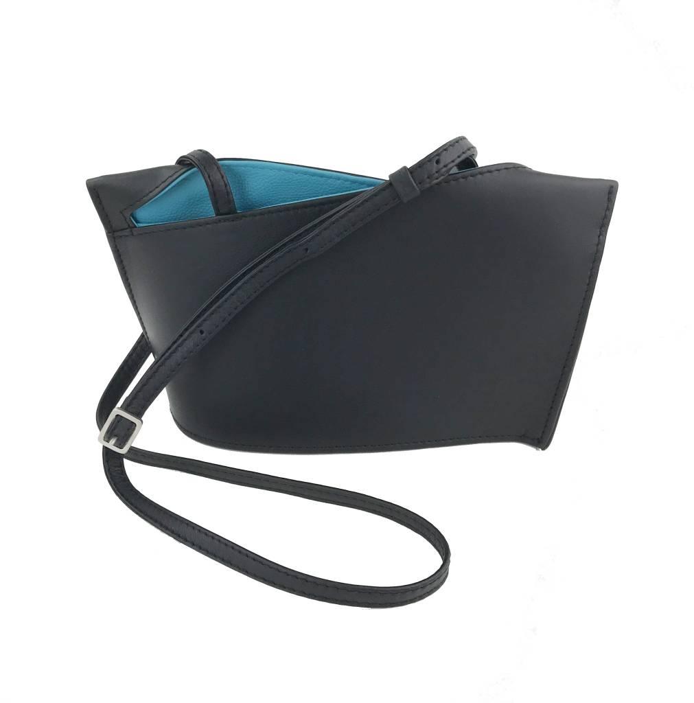 Olbrish Olbrish Wave Shoulder Bag: Black with Aqua
