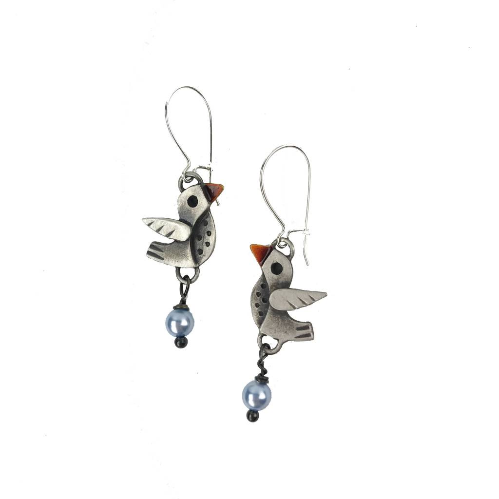 Chickenscratch Lil' Scratch Lovebirds Earrings: Silver