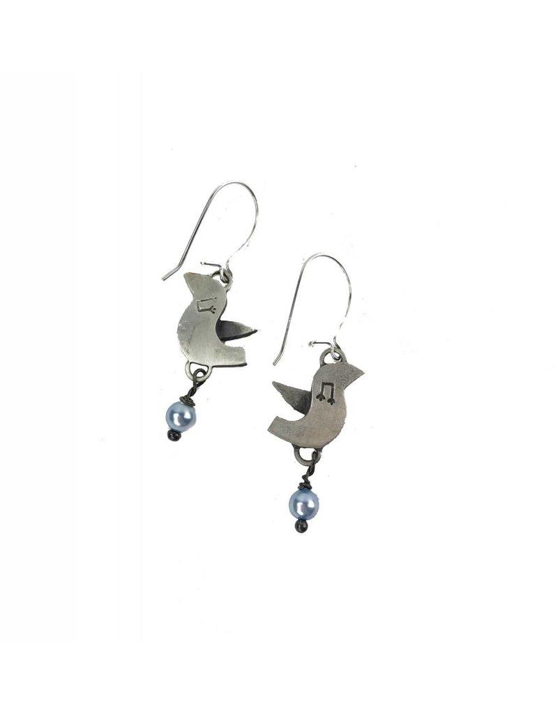 Chickenscratch Lil' Scratch Lovebirds Earrings: Silver