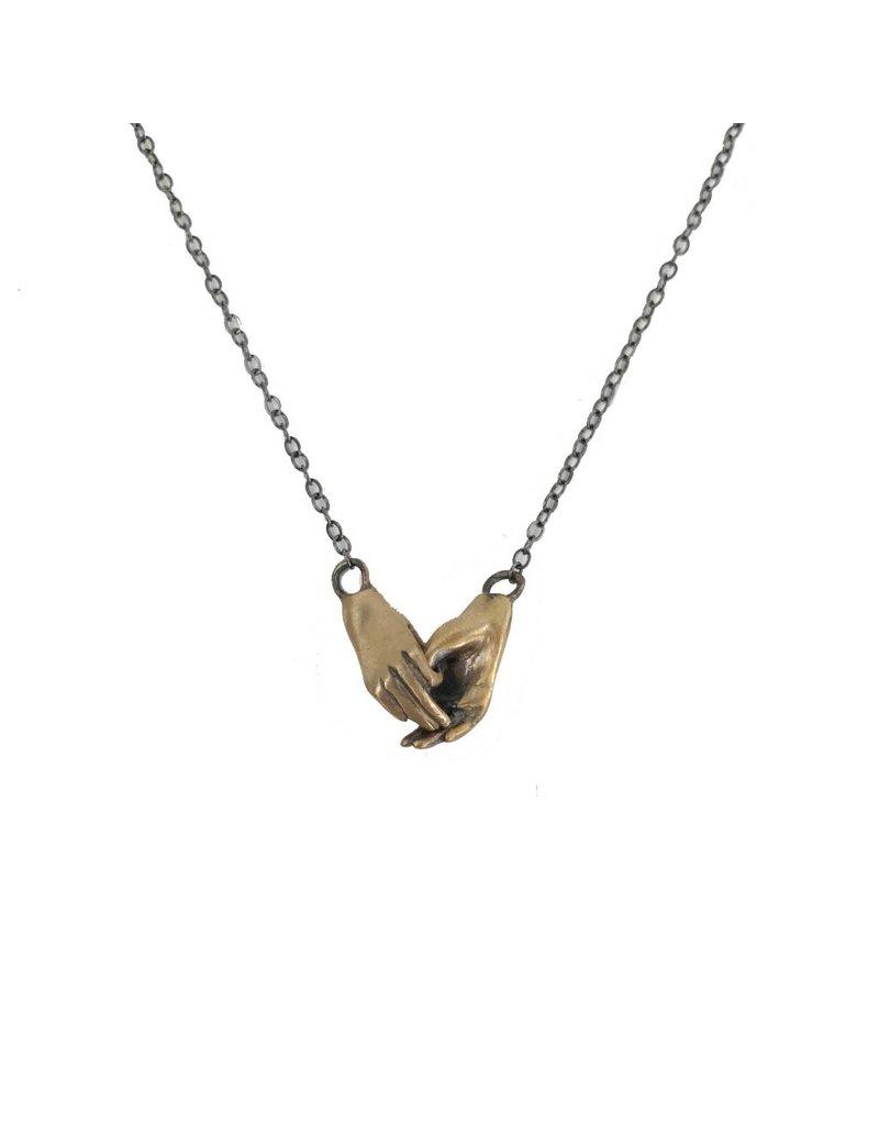 Symbology Symbology Holding Hands Necklace: Bronze
