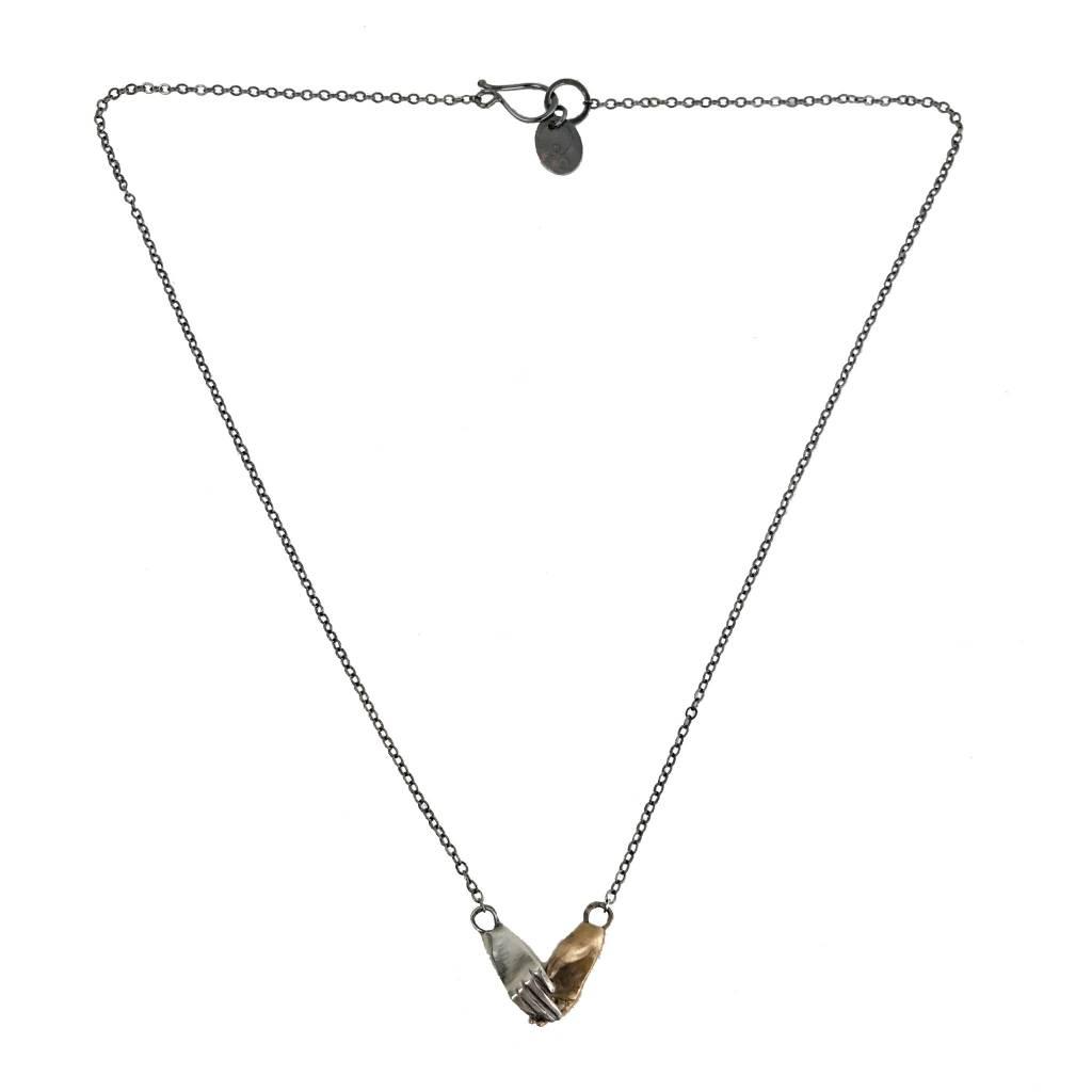 Symbology Symbology Holding Hands Necklace: Bimetal