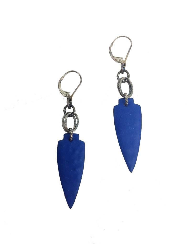 Julie Shaw Julie Shaw Small Shield Earrings: Blue