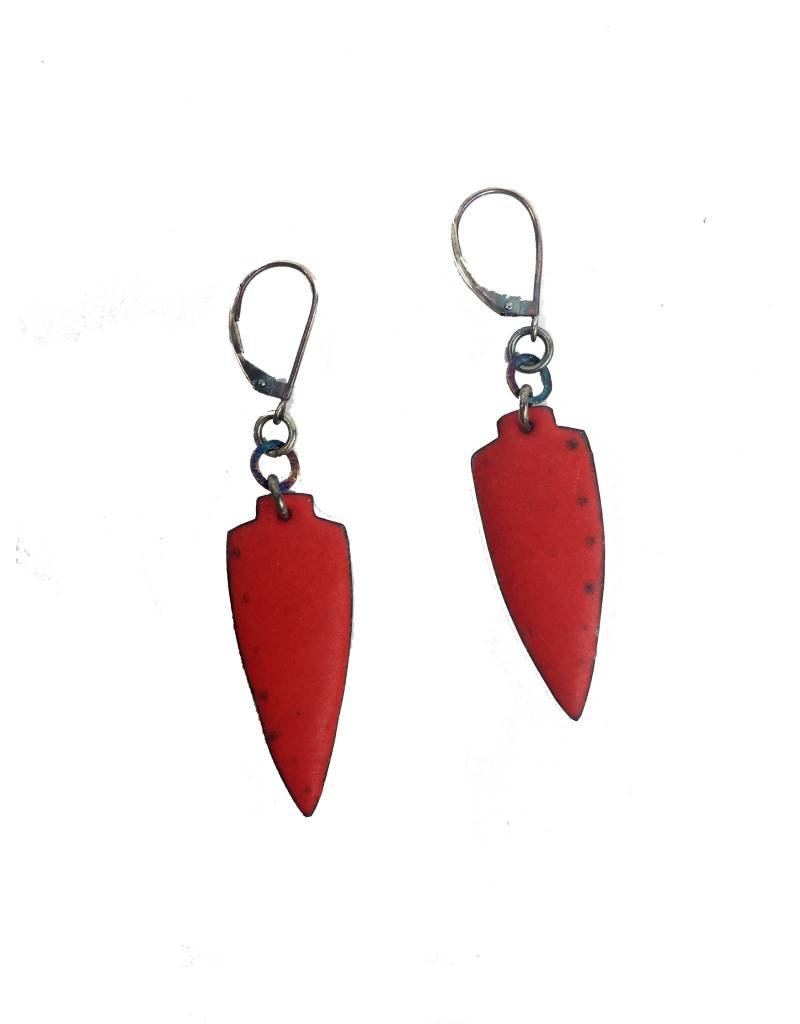 Julie Shaw Julie Shaw Small Shield Earrings: Red