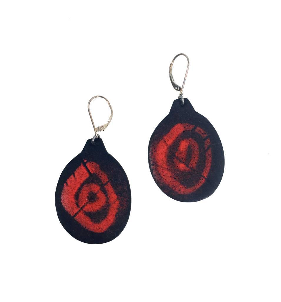 Julie Shaw Julie Shaw Circle Earrings: Black/Red