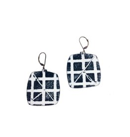 Julie Shaw Square Earrings: White/Black
