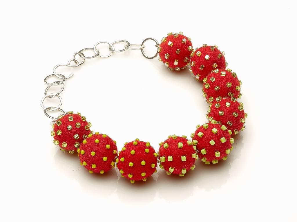 Linda May Studio Linda May Big Felt Necklace: Red