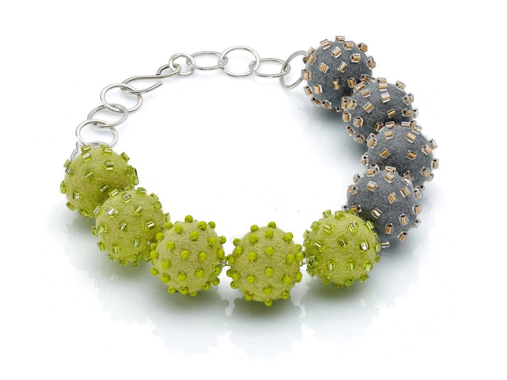 Linda May Studio Linda May Big Felt Necklace: Apple Green/ Grey