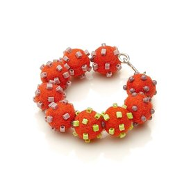 Linda May Studio Fun Felt Bracelet: Tomato W/ Greens