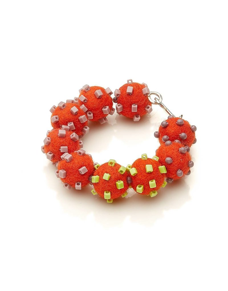 Linda May Studio Linda May Fun Felt Bracelet: Tomato W/ Greens