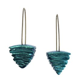 Keith Lewis Carved Pyramid Dangles: Turquoise