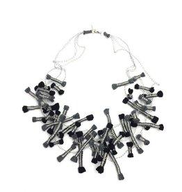 Beyond Threads Cartouche Necklace: Black