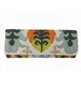 Tiana Fold Over Cutch: Ivory/Orange/Multi