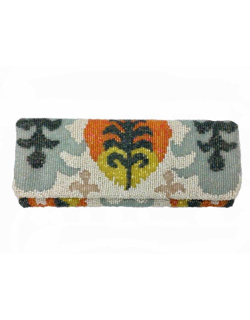 Tiana Tiana Fold Over Cutch: Ivory/Orange/Multi