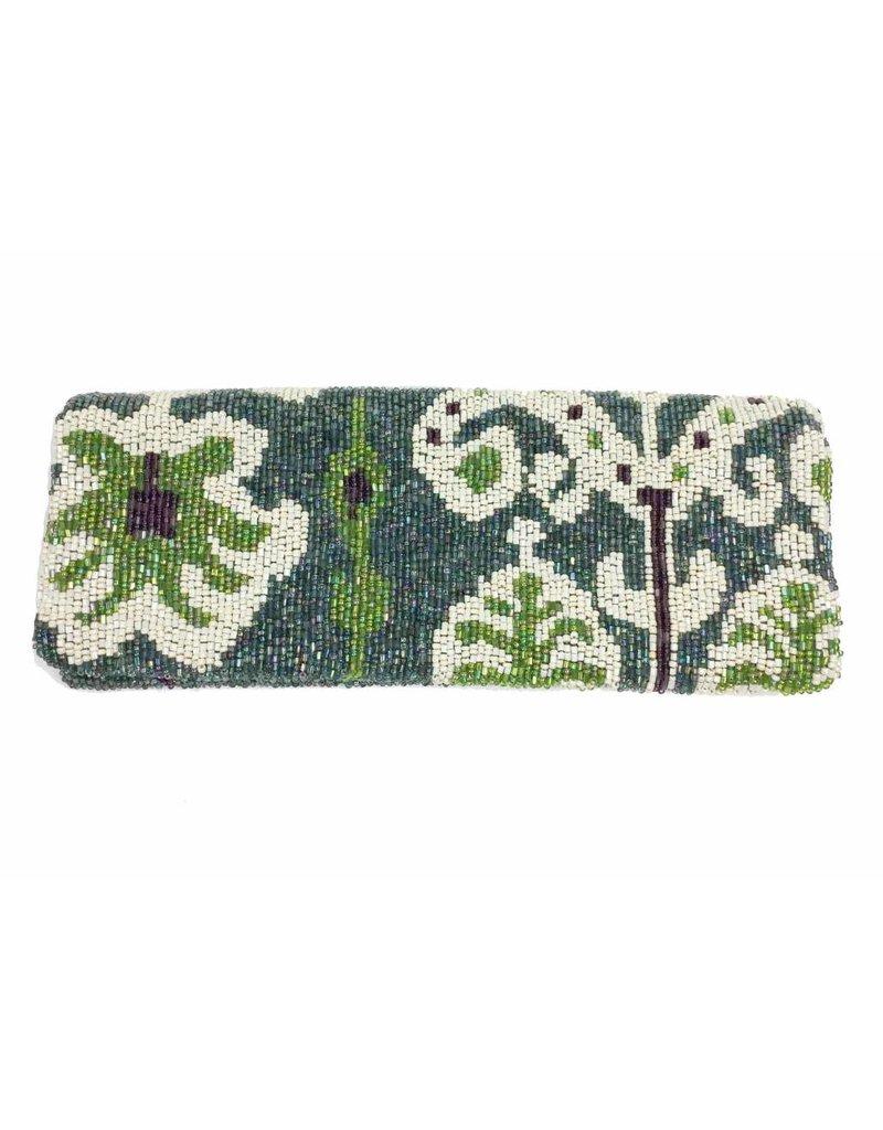 Tiana Tiana Fold Over Cutch: Teal/Ivory/Lime/Eggplant