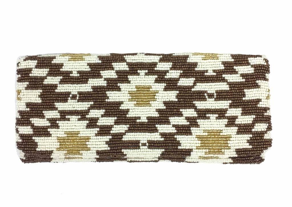 Tiana Tiana Fold Over Cutch: Ivory/Bronze/Shiny Gold