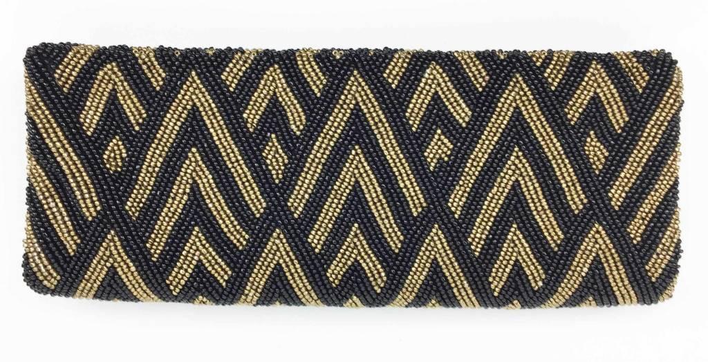 Tiana Tiana Fold Over Cutch: Black/Ant Gold
