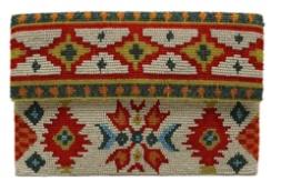 Tiana Tiana Half Fold Clutch: Ivory/Teal/Orange/Red