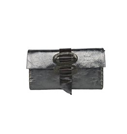 Rebel Designs Large Clutch With Zipper: Gray Metallic