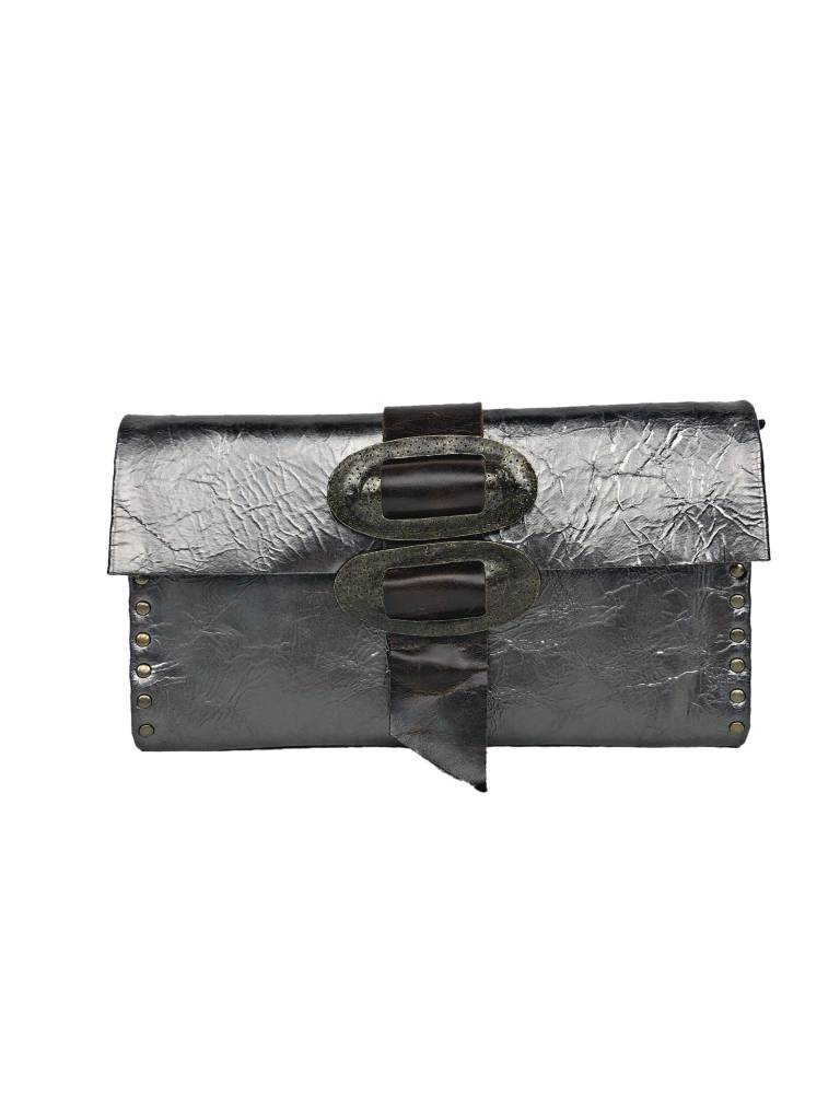 Rebel Designs Rebel Designs Large Clutch With Zipper: Gray Metallic