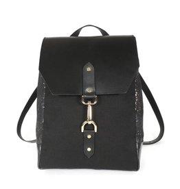 Spicer Bags Backpack: Black & Gold Cork