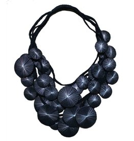 Beyond Threads Platillos Saucers Necklace: Black