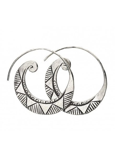 Talis Tribal Silver Thick Hoops