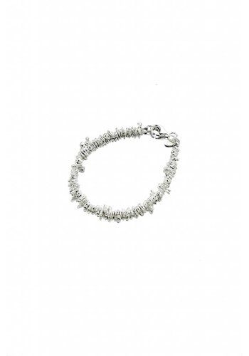 Jagged Silver Bead Bracelet