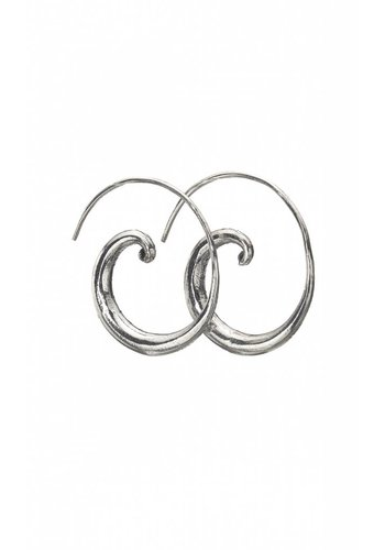 Silver Curled Open Hoop