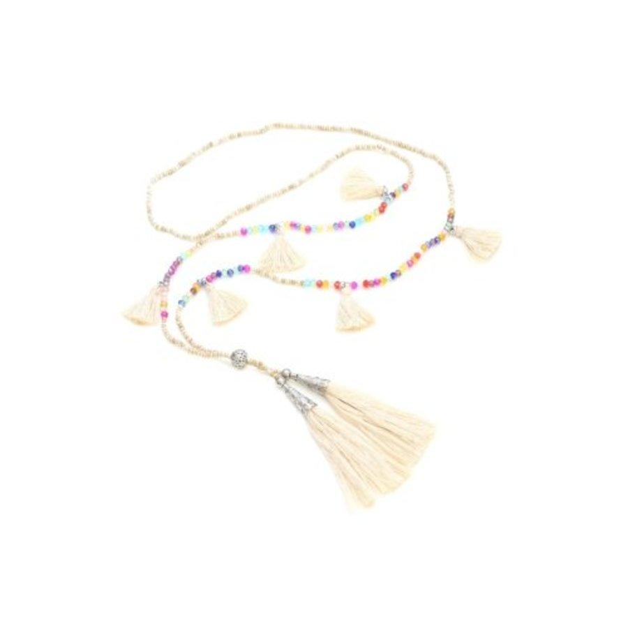 Multi-Tassel Bead Necklace