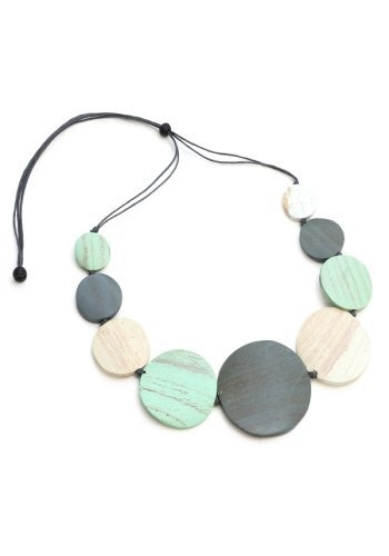 White Wash Wooden Bead Necklace