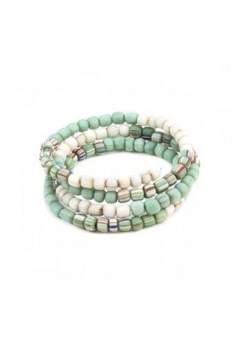 Suzie Blue Green Glass Bead Spiral Bracelet