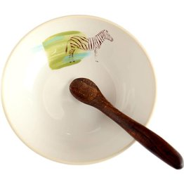 Zebra Bowl with Wooden Spoon