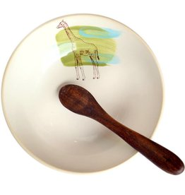 Giraffe Bowl with Wooden Spoon