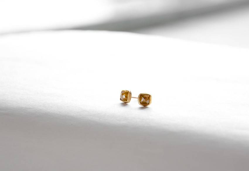 Small Cushion Diamond 18k, 14k Gold Studs
