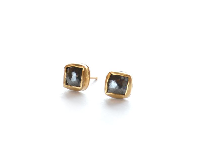 Grey Diamond 22k Gold bezel studs